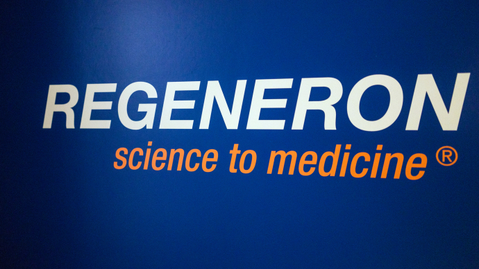 TARRYTOWN, NY - FEBRUARY 26 The Regeneron Pharmaceuticals Company Logo at their offices in Tarrytown, New York, on February 26, 2015. (Andrew Renneisen / Getty Images Reportage)